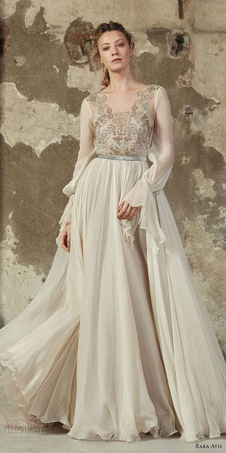 rara avis 2017 bridal long sleeves square neckline heavily embellished bodice flowy skirt a line wedding dress open strap back medium train (14) mv -- Rara Avis 2017 Wedding Dresses