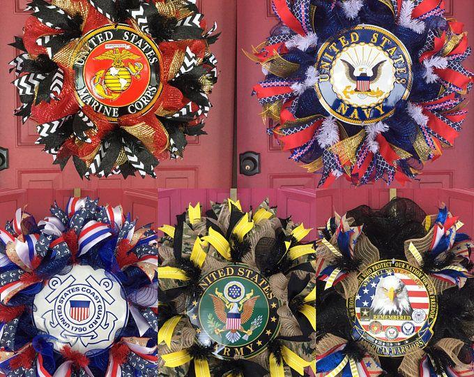 14 Military Burlap Wreath