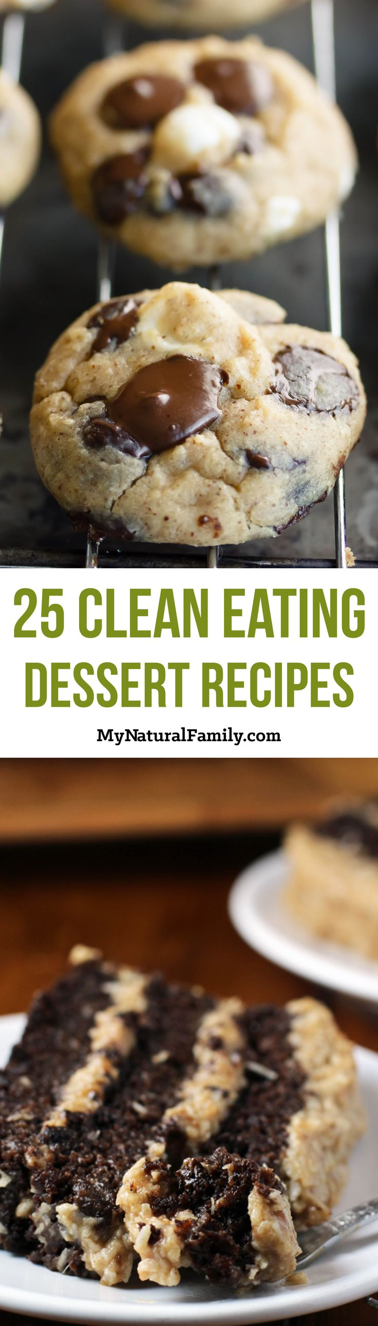 25 Clean Eating Dessert Recipes. I love how there is an image and a link to get each recipe.