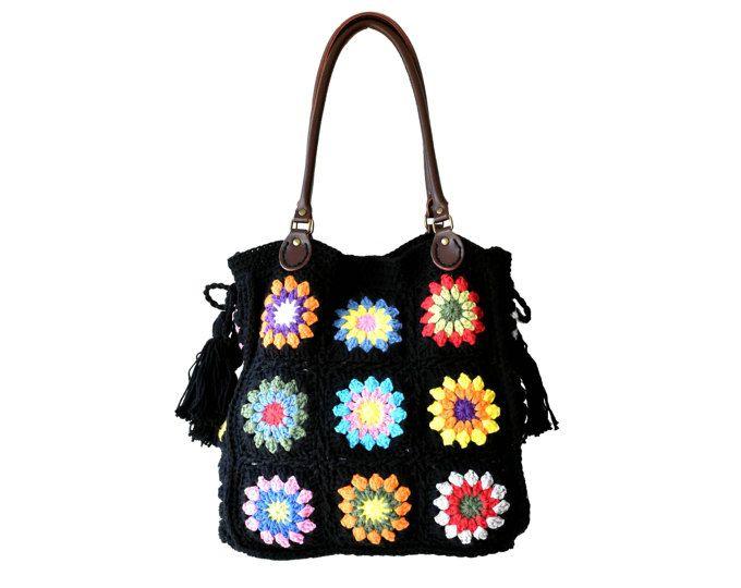 Borsa della nonna crochet grande con nappine e manici in vera pelle, borsa grande nera borsa di boho, uncinetto nappe floral tote bag