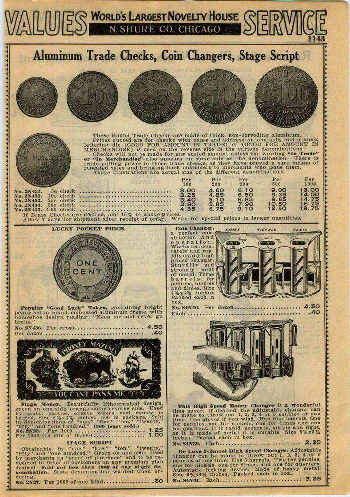 1940 AD Aluminum Trade Checks Coins Stage Script Tokin Coin Changer