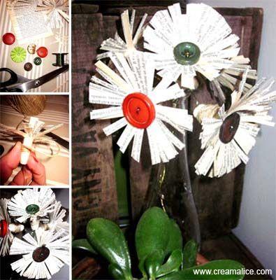 ✿ ✄ DIY Fleurs Papier Récup' / DIY Paper Flowers Bouquet ✿ ✄   www.creamalice.com