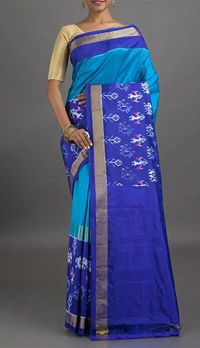 Roja Broad Figurine Border Ikat Pochampally Silk Saree