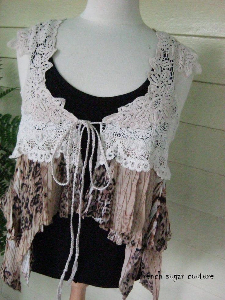 French Sugar Parisian Upcycled Bohemian Style Lace and Fabric Vest - Altered Couture