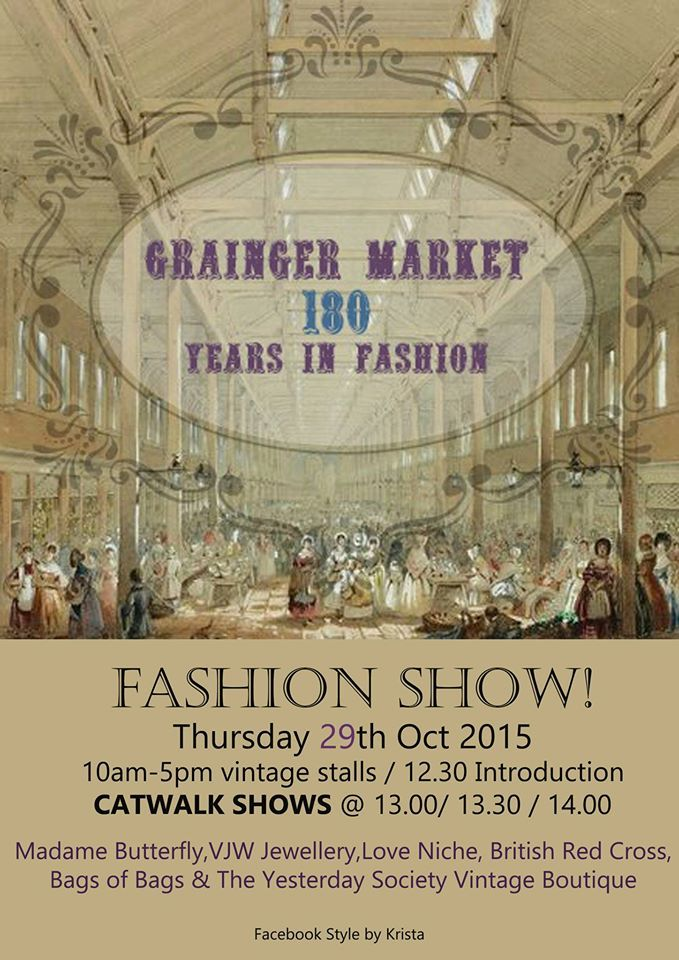 Grainger Market Fashion Show, Thursday 29 October from 12.30pm onwards, organised by 'Style by Krista'.  See us & other Grainger Market businesses there with ladies' autumn and winter designs!