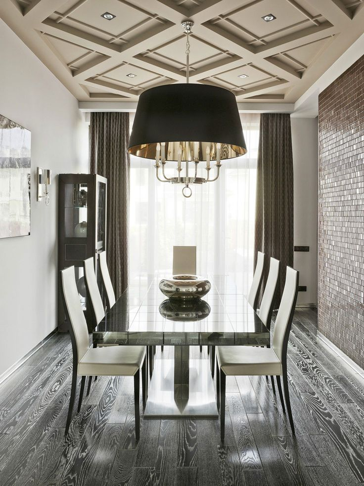 Retro Futurism By Nikolay Tsupikov. Dining Room, Glass Tile Wall, Hardwood  Floors