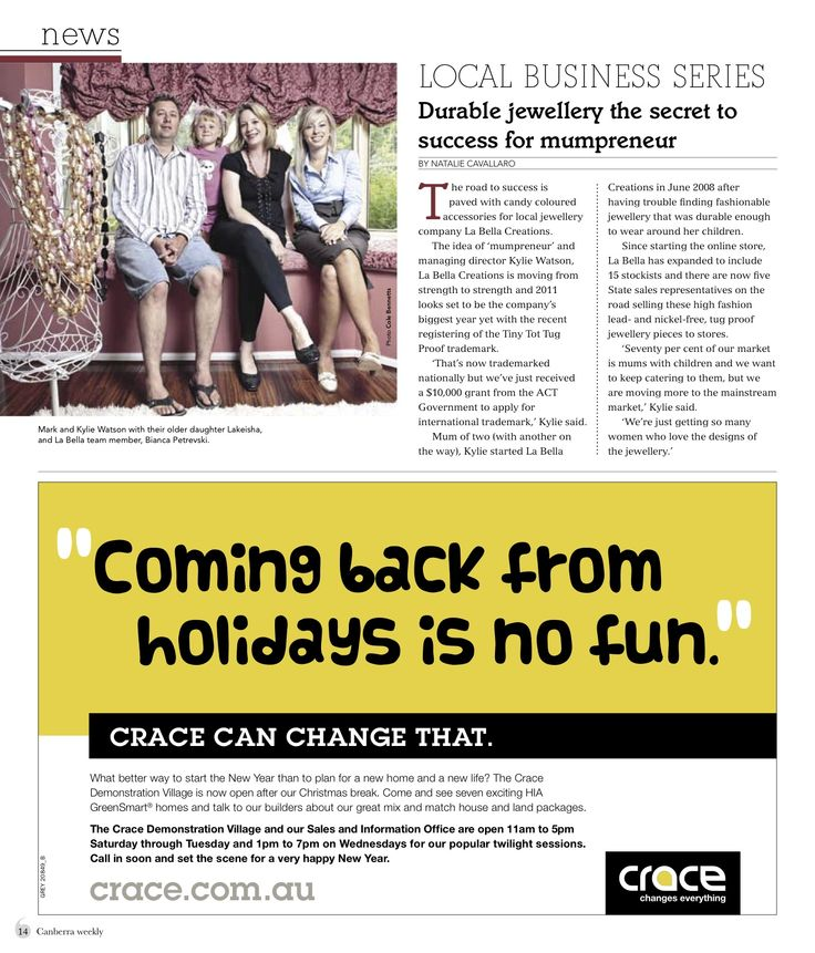 Featured in Canberra Weekly magazine from mail out campaign executed with La Bella Creations.