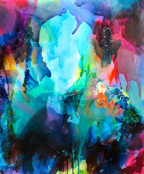 Abstract painting, guessing layers of watercolor. Looks like a cavern made of rainbows.