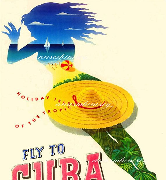 """FABULOUS! Travel Poster Restored Vintage Art Print """"Fly to Cuba"""" Fab graphics/colors! just $12.00"""