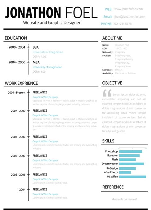 The left-hand side of this résumé is all business, while the right allows you to express your personality. | 21 Free Résumé Designs Every Job Hunter Needs