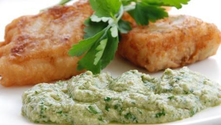 Fried salted cod with green skordalia (aioli, in a way)