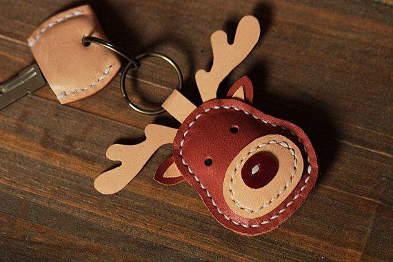 100% Handmade Reindeer Key chains – Cute Animal Key ring – Reindeer Bag Charm Good Luck Party Favors Gift