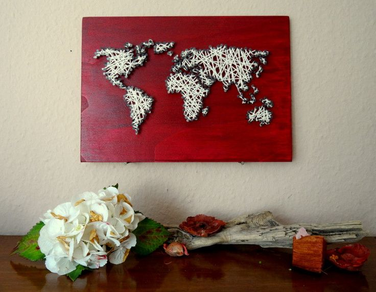 "Strung World Map on Wood with Wool | 11,8""x8,3"" - 30x21cm 