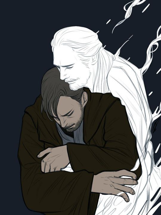 Qui-Gon force ghost & Obi-Wan fanart. Personally I just love the friendship between these two. it broke my heart when Qui-Gon died...