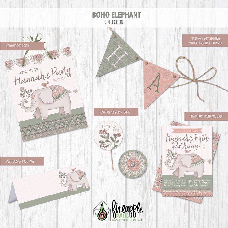 Elephant Birthday Invite, Elephant Birthday Invitation, Elephant Girl Birthday, Elephant Party Package, Elephant Birthday Printable, Boho by FineapplePair on Etsy