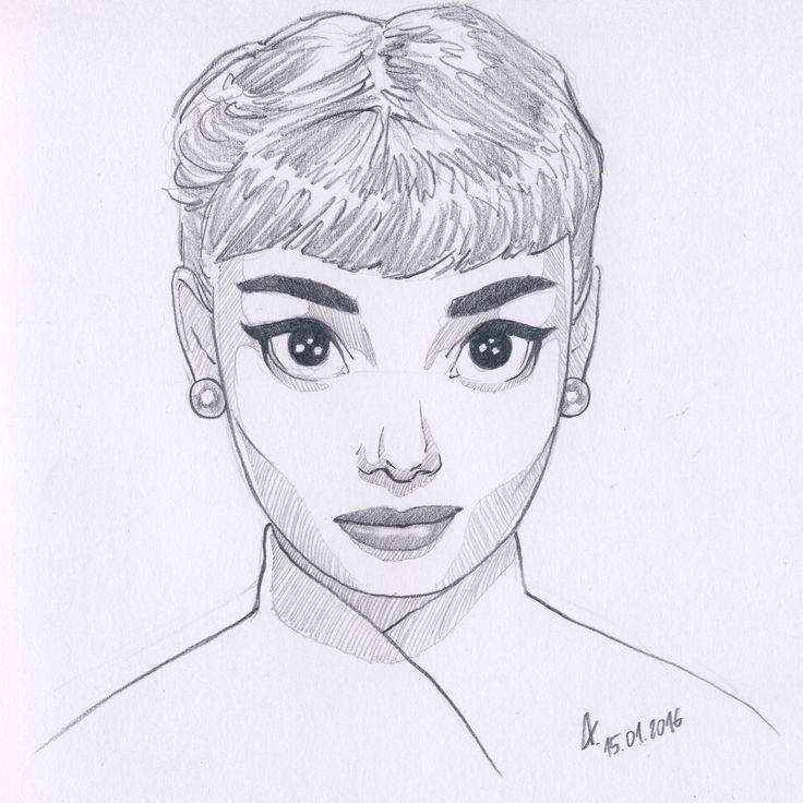 My drawing of Audrey Hepburn. Cartoon style. Pencils and white paper. facebook.com/lukasiakaleksandra/