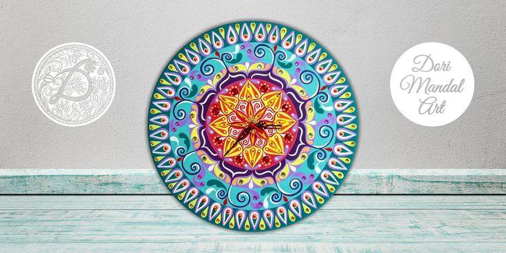 Painted mandala clock