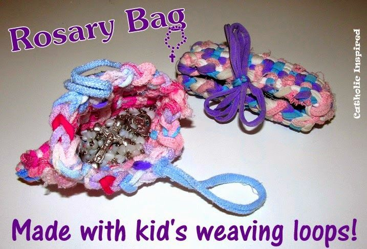 Use that weaving loom for something other than potholders! ~ Make Rosary Bags! ~ Catholic Inspired