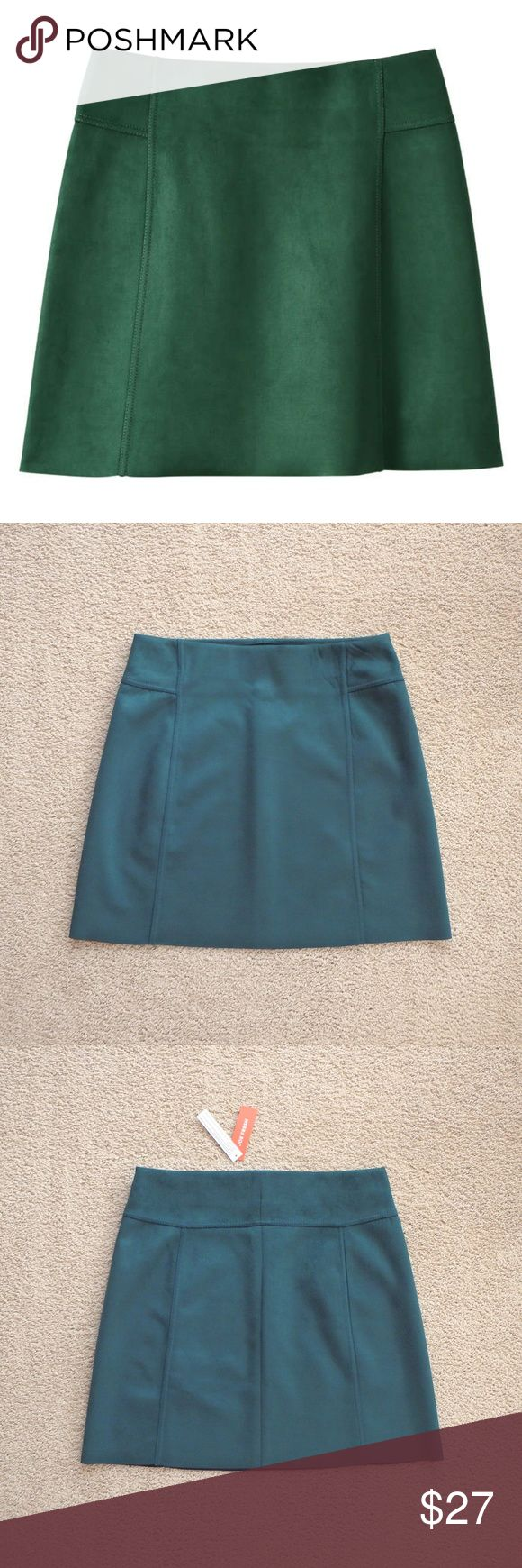 Faux Suede Mini Skirt in Emerald Faux suede mini skirt - Smooth finish and seam detail - Pull-on skirt - Elastic waist - Faux Suede, 90% polyester/10% spandex - Color is best represented in picture 1 - Measurements: Length: 18 1/4'', Waist: 15'', Hips: 19 3/4''- Condition: New with tags - Smoke free, pet free home - Price is negotiable. Joe Fresh Skirts Mini
