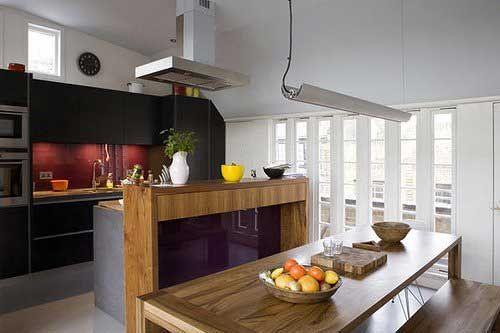 Kitchen:Modern Kitchen Large Pendant Stainless Steel Basics LED Regal King Pendant Lights Long Mahogany Wood Dining Table Wooden Bench Ceram...
