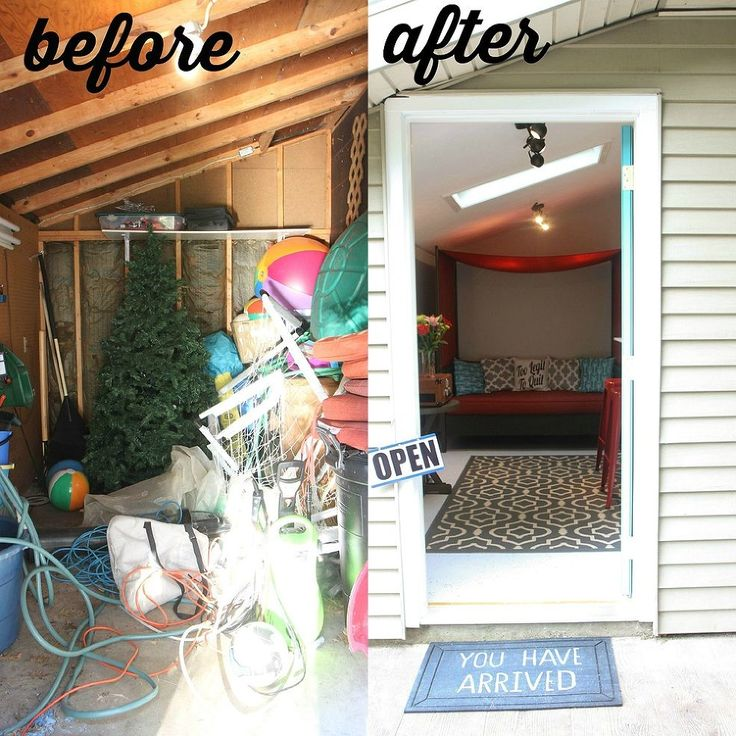 Backyard Shed Makeover... love this for when we don't need to use all of it for storage <3