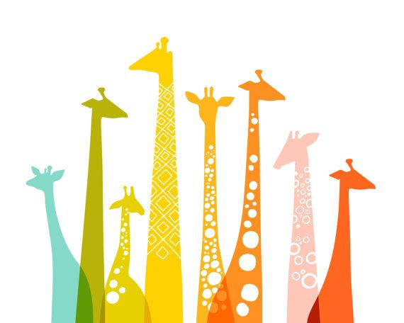love. :: giraffes landscape rainbow by ThePaperNut on Etsy