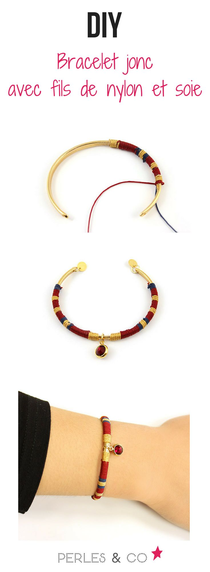 suivez de  tutoriel simple et rapide pour créer un bracelet jonc tressé avec du fil de soie et de nylon sur Perles and co. #tutoriel #perlesandco #tuto #jonc #bracelet #soie #nylon