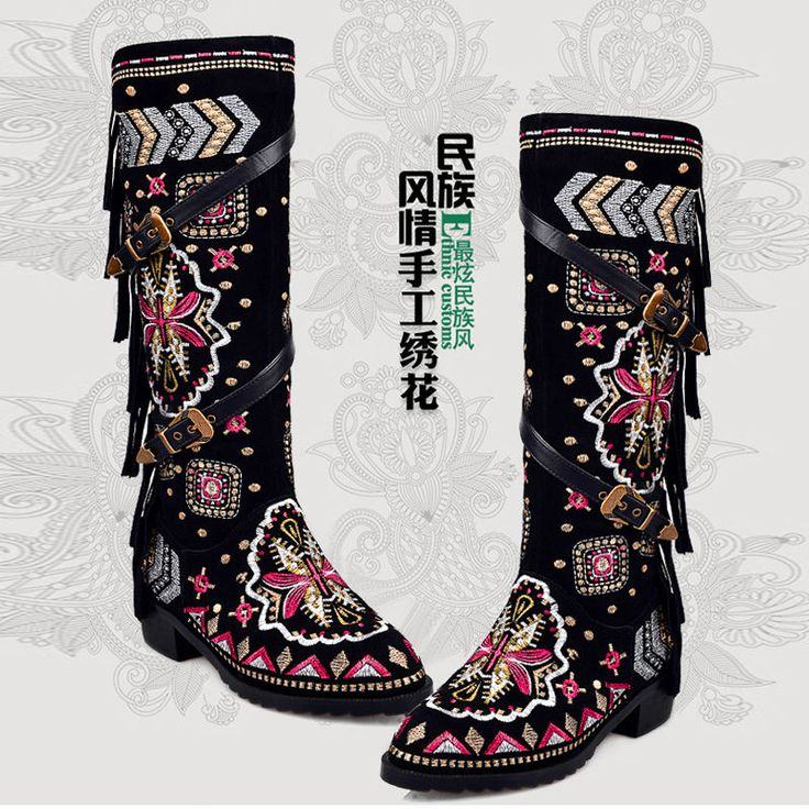 Fashion Womens Suede embroider Vintage Ladies Knee High Boots Shoes Boho Tassels | Clothing, Shoes & Accessories, Women's Shoes, Boots | eBay!