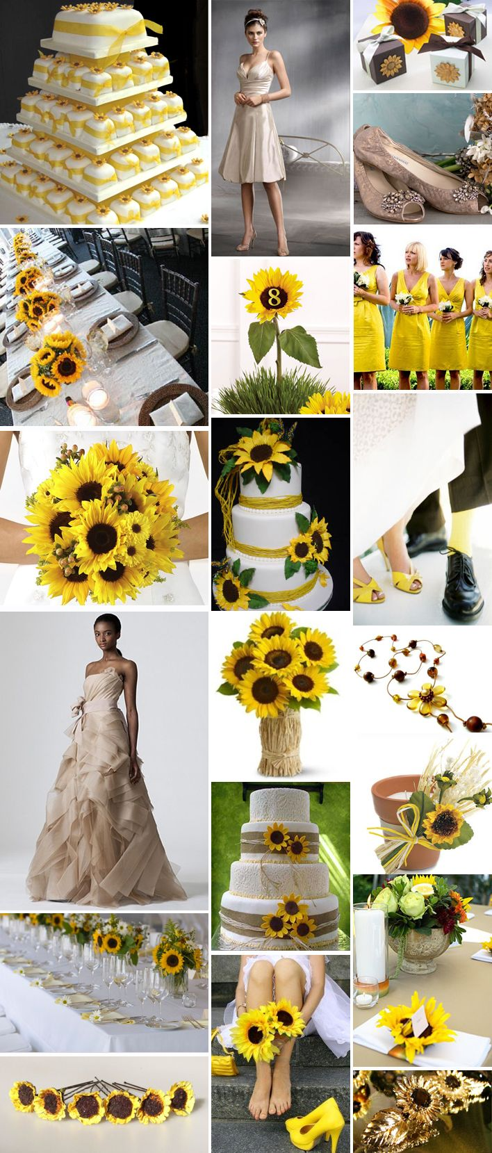 sunflower theme~ my fairytale wedding (outdoor, sunflowers, cowgirl boots with the bridesmaid dresses)