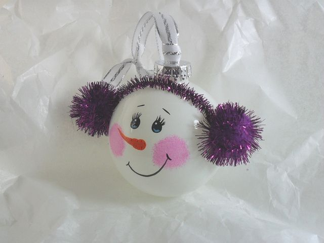snowmen from ornaments | Snowman Ornament Hand Painted Glass Purple | Flickr - Photo Sharing!