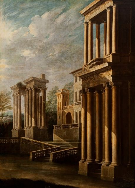 Leonardo Coccorante, Exterior View of Buildings (1700 - 1730) on ArtStack #leonardo-coccorante #art