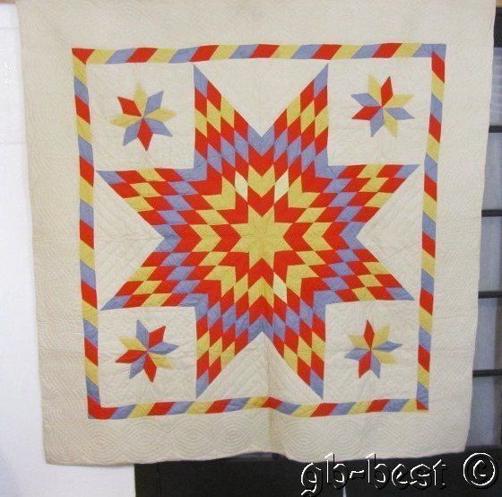 Vibrant Candy Stripes 40s Star Vintage Quilt 76 x 74 Solids Red Blue Yellow | eBay