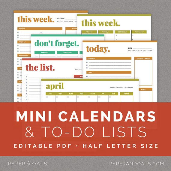 Mini Calendars & To Do Lists – Editable, Half Letter Size Daily, Weekly, Monthly Planners, Schedule, Planner // Household PDF Printables by paperandoats, $10.00