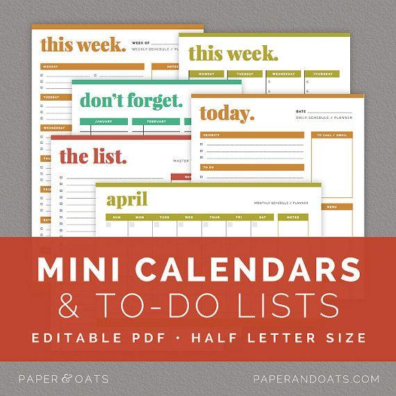 Printable Calendar, Minis Binder Printable, Pdf Printable, Households ...