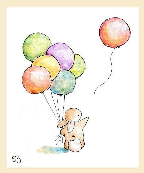 Enfants Art Print. Au revoir ballon. IMPRIMER 8 X par LoxlyHollow