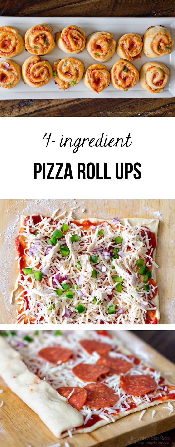 These 4-ingredient pizza roll ups come together so easy and are loved by all! Perfect for a quick dinner or snack. Great appetizer recipe.