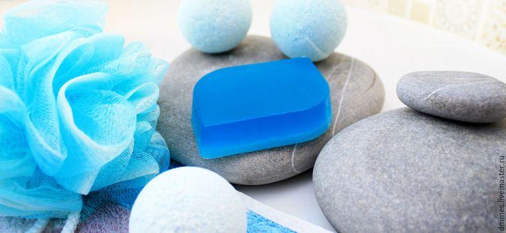 Купить Мыло с ментолом - синий, мыло с ментолом, освежающее мыло, мыло ручной работы