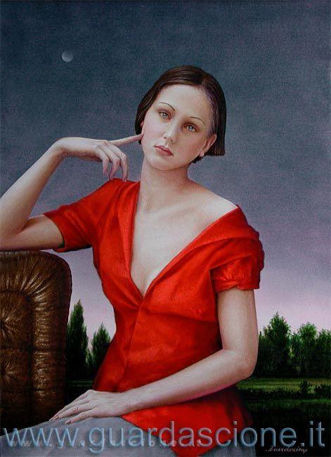 ritratto donna seduta eseguito su commissione da ritaglio fotografico (olio su tela 70x90)
