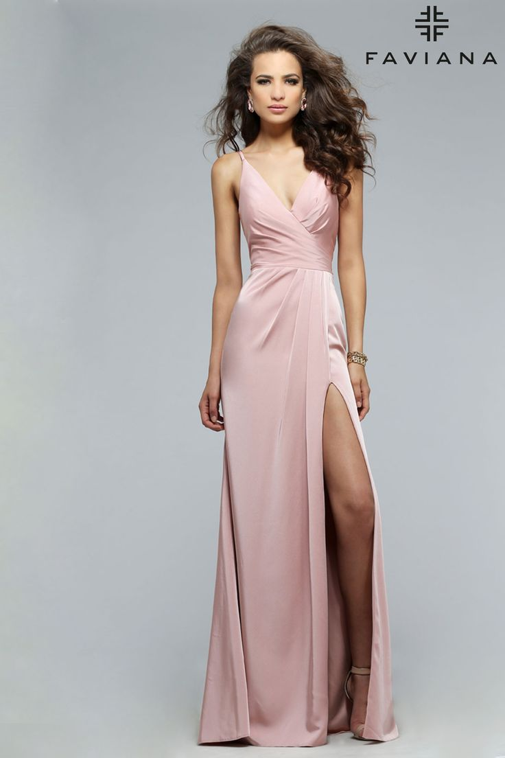 Faille satin v-neck with draped front & skirt Style 7755 #PromDresses