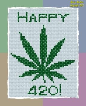 Marijuana happy 420 day cross stitch sampler