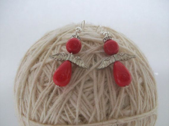 Christmas special: Red Angel Earrings. Ready to by ThousandDrops