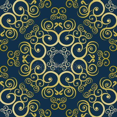 Скачать - Золотой узор на синем фоне — стоковая иллюстрация #115139084