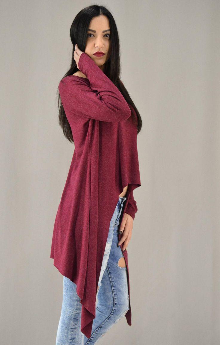 Γυναικεία μπλούζα ασύμμετρη με μύτες MPLU-0869-bu | Γυναίκα Μπορντό