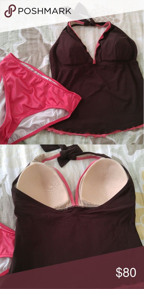 Profile by Gottex Brown Tankini Swimsuit In great condition. The bottoms are new and a size 10. Profile By Gottex Swim