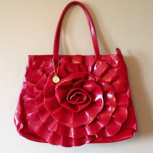 Big Buddha Shiny Red Rose Flower Tote Bag Purse Big Buddha Santa Barbara Shiny Red Faux Leather Rose Tote Handbag Shoulder Bag Purse. Great for spring and summer! Big Buddha Bags Totes