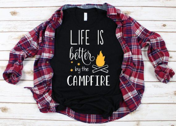 ce38b9efd9 Adult unisex life is better by the campfire black tee | Adult Tees ...