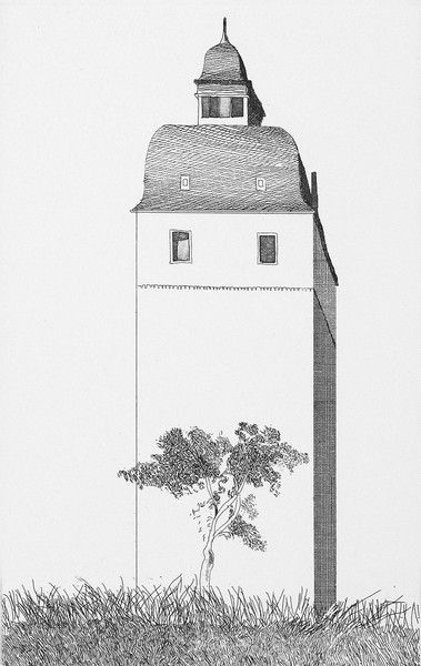 "David Hockney | The Bell Tower from ""Fairy Tales from The Brothers Grimm"", etching and aquatint"