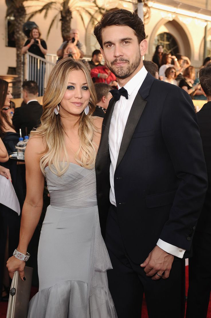 Kaley Cuoco stayed close to her new husband, Ryan Sweeting at the SAG Awards.
