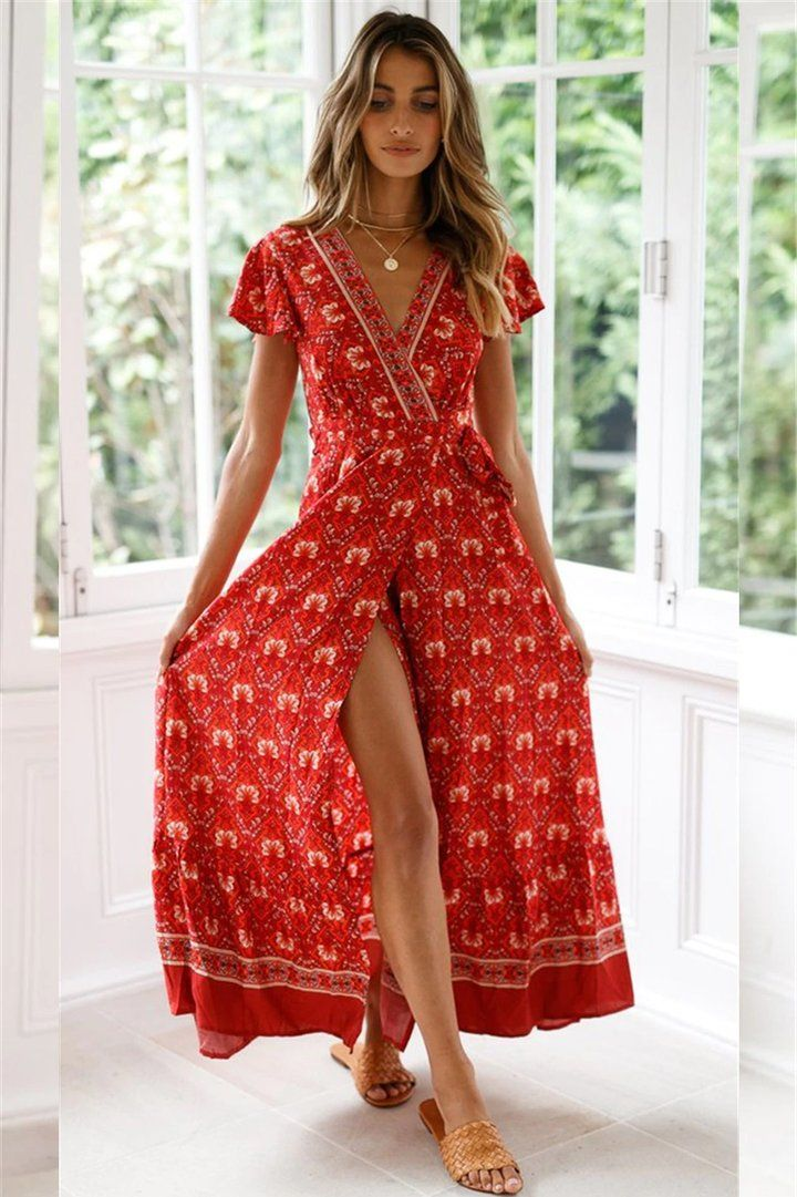 f92a83f4c0336 Vintage Floral Print Boho Long Dress in 2019 | Dresses | Dresses ...
