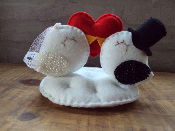 Topo de bolo -  casal de passarinhos